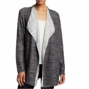 Eileen Fisher Black Gray Creme Open Front Cardigan Size Medium Organic Cotton